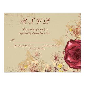 Vintage burgundy rose floral wedding RSVP card