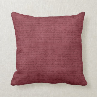 Vintage Burgundy Script Dark Mauve Writing Letter Throw Pillow