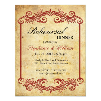 Vintage Burgundy Swirl Rehearsal Dinner Invitation