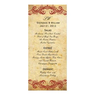 Vintage Burgundy Swirl Wedding Reception Menu