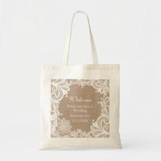 Vintage Burlap and Lace Bridal Bag
