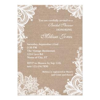 Vintage Burlap and Lace Bridal Shower Invitation