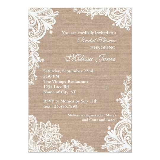 vintage burlap and lace bridal shower invitation. Black Bedroom Furniture Sets. Home Design Ideas