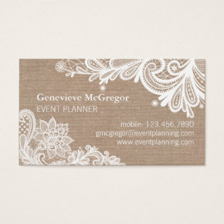 Vintage Burlap and Lace Business Card