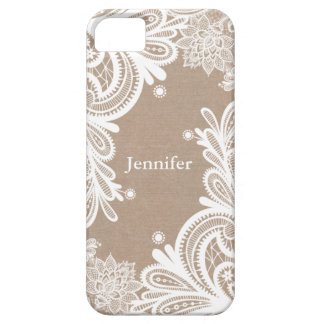 Vintage Burlap and Lace Case iPhone 5 Covers