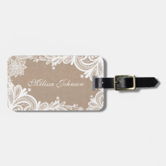 Vintage Burlap and Lace Luggage Tag
