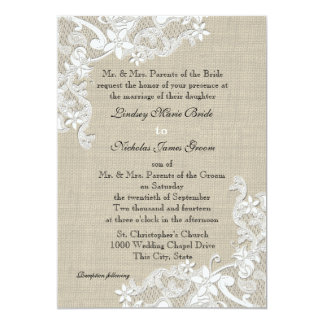Vintage Burlap and Lace Wedding Card