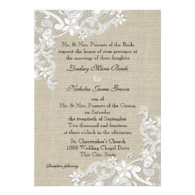 Vintage Burlap and Lace Wedding Personalized Invitation