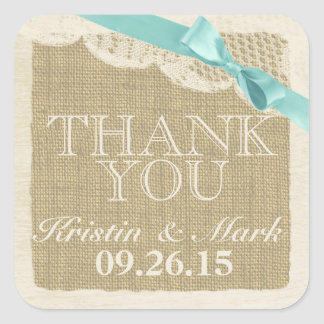 Vintage Burlap and Lace with Aqua Bow Sticker