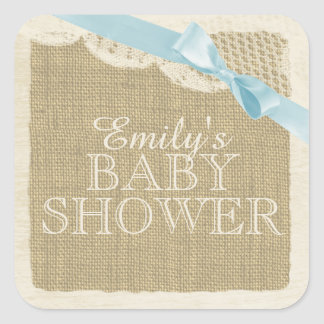 Vintage Burlap and Lace with Blue Bow Square Sticker