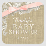 Vintage Burlap and Lace with Blush Bow Square Sticker