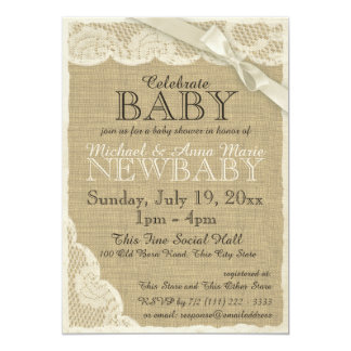 Vintage Burlap and Lace with Bow Baby Shower Card
