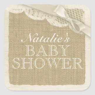 Vintage Burlap and Lace with Bow Square Stickers
