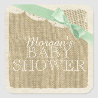 Vintage Burlap and Lace with Green Bow Square Sticker