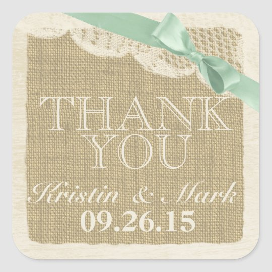 Vintage Burlap and Lace with Mint Green Bow Square Sticker