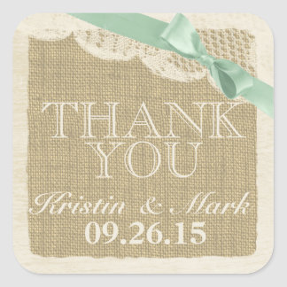 Vintage Burlap and Lace with Mint Green Bow Square Stickers