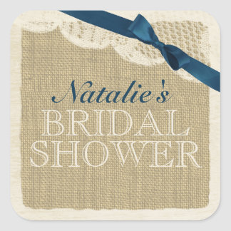 Vintage Burlap and Lace with Navy Blue Bow Square Sticker