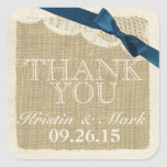 Vintage Burlap and Lace with Navy Blue Bow Stickers