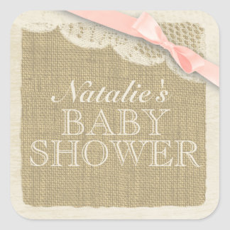 Vintage Burlap and Lace with Pink Bow Square Sticker