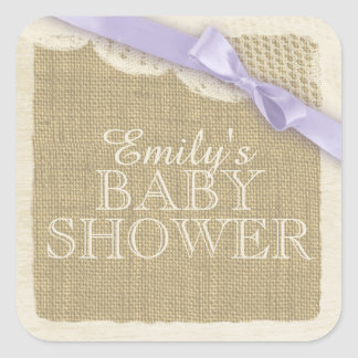 Vintage Burlap and Lace with Purple Bow Square Sticker