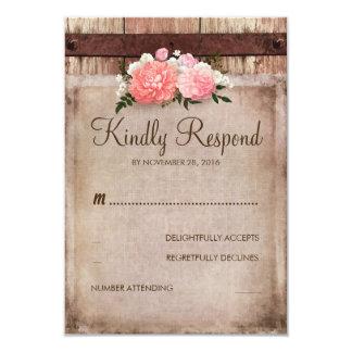 Vintage Burlap and Rustic Wood Floral Wedding RSVP Card