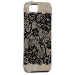 Vintage Burlap & Black Lace iPhone Case iPhone 5 Case