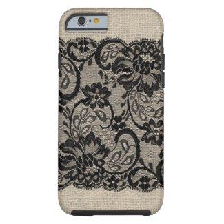 Vintage Burlap & Black Lace iPhone Case iPhone 6 Case