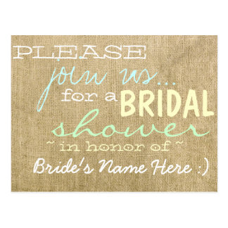 Vintage Burlap Country Bridal Shower Invitation Postcard