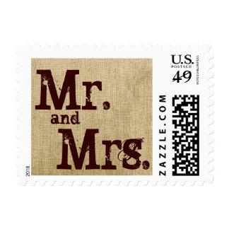 Vintage Burlap Country Wedding Postage Stamps