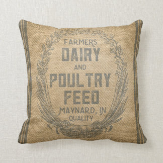 Vintage Burlap Feed Sack Throw Pillow