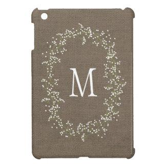 Vintage Burlap Floral Monogram iPad Mini Cases