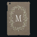 """Vintage Burlap Floral Monogram iPad Mini Cover<br><div class=""""desc"""">Beautifully printed product that can be customized with your initial.</div>"""