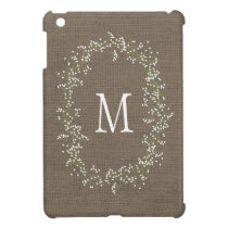 Vintage Burlap Floral Monogram iPad Mini Cover
