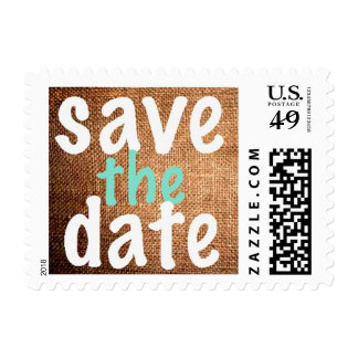 Vintage Burlap Handwritten Save the Date Stamps