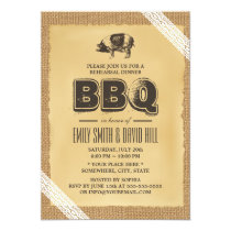 Vintage Burlap & Lace BBQ Rehearsal Dinner Invitation