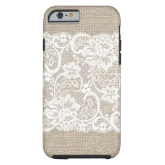 Vintage Burlap & Lace iPhone 6 case