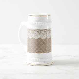 Vintage Burlap Lace Natural Beer Stein White Gold