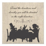 Vintage Burlap Mad Hatters Tea Party Birthday 5.25x5.25 Square Paper Invitation Card