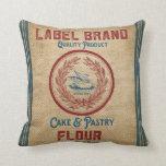Vintage Burlap Poultry Flour Sack Pillow