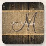 Vintage Burlap Rustic Wood Look Monogram #5 Coaster