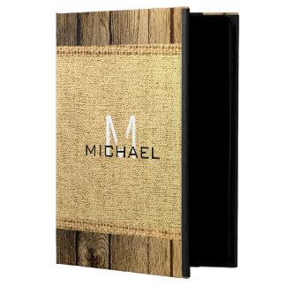 Vintage Burlap Rustic Wood Look Monogram Powis iPad Air 2 Case