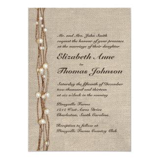 """Vintage Burlap Twine Pearls Wedding Invitation 5"""" X 7"""" Invitation Card"""