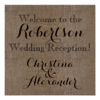 Vintage Burlap Wedding Reception Welcome Sign Poster