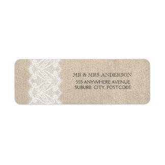 Vintage Burlap + White Lace Wedding Return Address Custom Return Address Labels