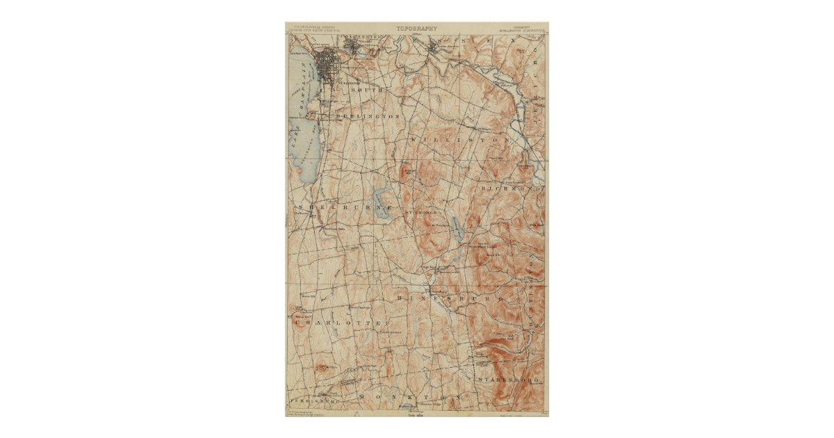 Vintage Burlington Vermont Topographic Map (1904) Poster | Zazzle.com