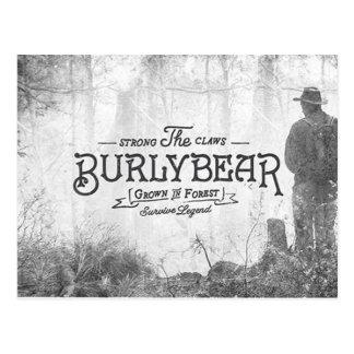 Vintage Burly Bear Forest Travel Postcard