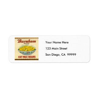 Vintage Burnham Brand Cut Wax Beans Label Return Address Label
