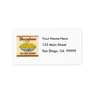 Vintage Burnham Brand Cut Wax Beans Label Address Label
