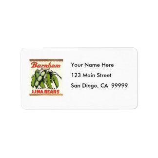 Vintage Burnham Brand Lima Beans Label Address Label