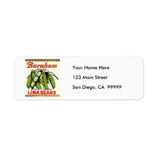 Vintage Burnham Brand Lima Beans Label Return Address Label